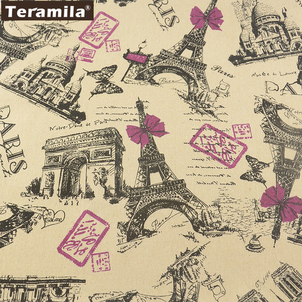 Linen Fabric Quilting Paris Theme Design Cotton Tablecloth Pillow Bag Curtain Cushion Sewing