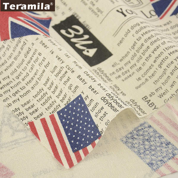 Printed Newspaper Style Cotton Linen Fabric Home Textile Sewing Table Cloth Curtain Decoration