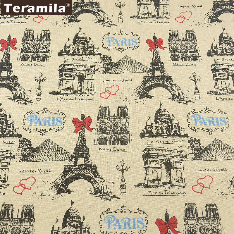 Home Textile Paris Theme Cotton Linen Fabric Sewing Tablecloth Bag Curtain Cushion Decoration