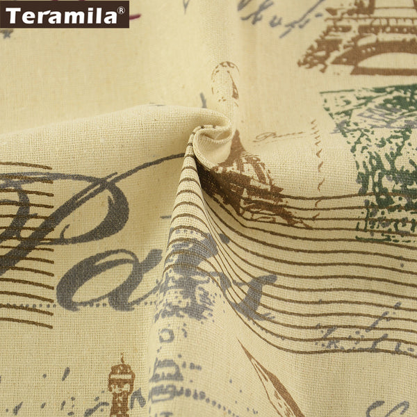 Printed Towers Cotton Linen Fabric Sewing Bag Table Cloth Curtain Pillow Decoration Home Textile