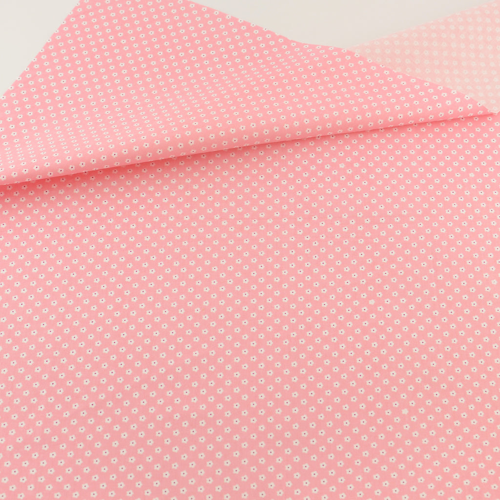 Pink Little Flower Cotton Twill Fabric Teramila Home Textile Sewing Bedding Quilting Clothing Craft