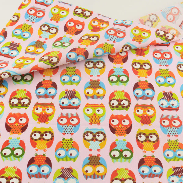 Pink Owl Cotton Twill Fabric Teramila Home Textile Sewing Bedding Quilting Clothing Craft