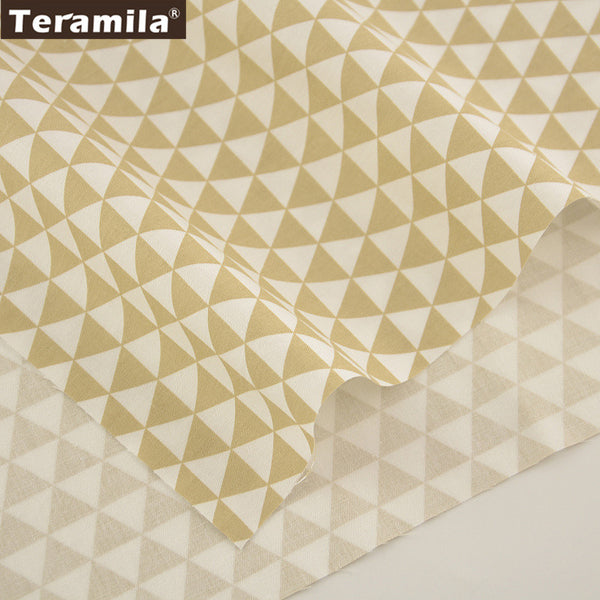 Cotton Fabric High Quality Light Yellow Triangle Designs Material Bed Sheet Patchwork Quilting