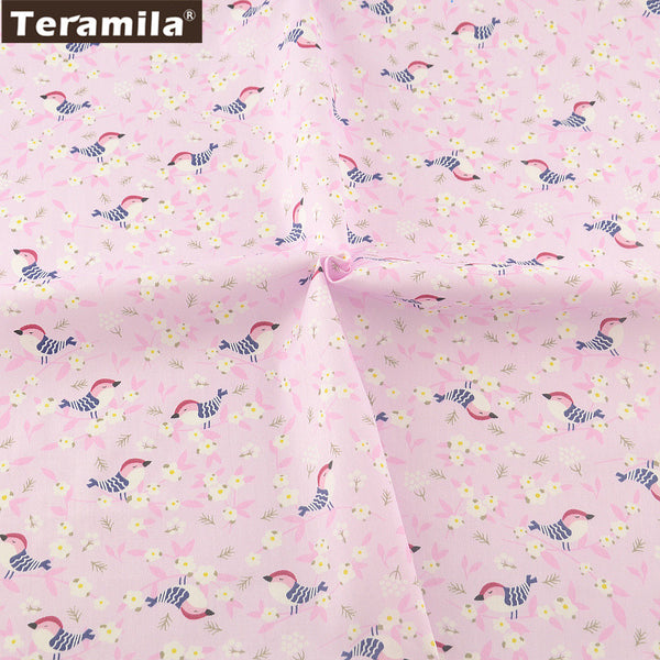 Pink Print Birds Designs Twill Fat Quarter Home Textile Material Bed Sheet  Patchwork Quilting