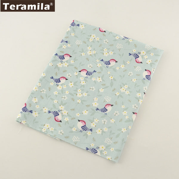 Light Green Print Birds Designs Twill Home Textile Material Bed Sheet Patchwork Quilting