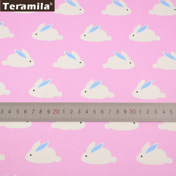 Pink Color  Home Textile Sewing Cloth Tela For Bed Baby Doll Crafts Rabbit Design