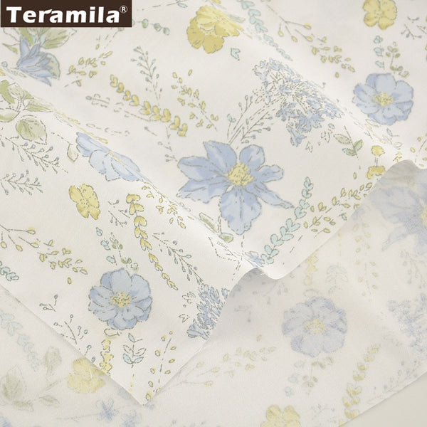 100% Cotton Fabric Blue Printed Floral Designs Twill Patchwork Quilting Home Textile Material