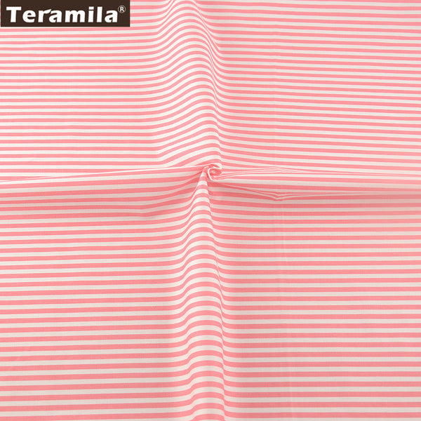 TERAMILA Light Pink Cotton Printed Stripe Design Textile Material Sheet Patchwork Quilting