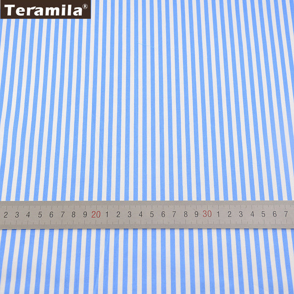 Bed Sheet Soft Cloth Quilting Tecido For Baby Beding Dolls Sky Blue Strips Home Textile Design