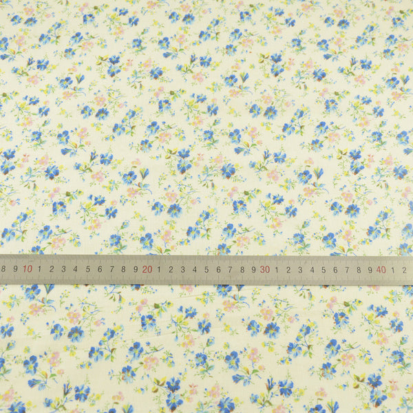 Cotton Fabric Tissue Blue and Yellow Flowers Design Cloths for Doll's DIY Patchwork Crafts