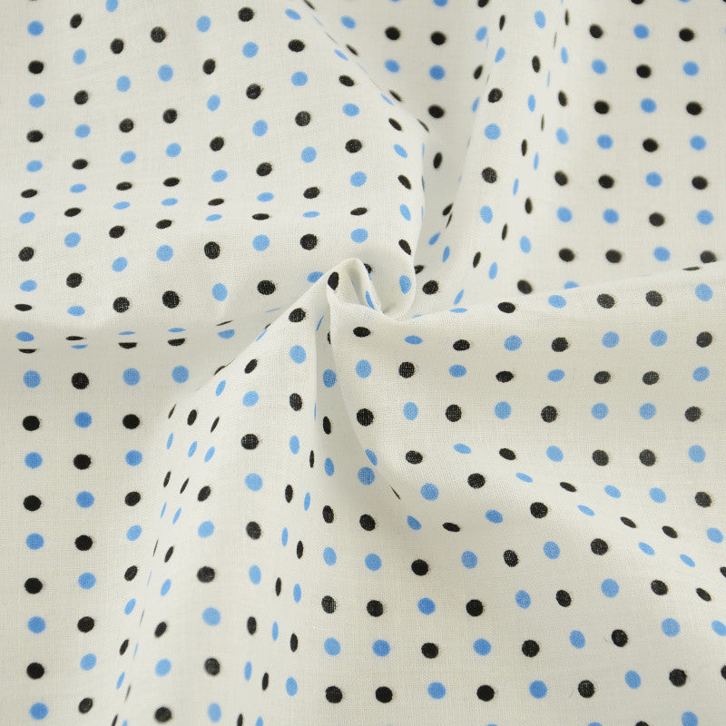 Black and Blue Dot Design White Printed Cotton Fabric Patchwork Clothing Home Textile