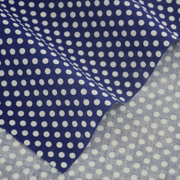 Printed Plaid White Dots Design 100% Blue Cotton Fabric Tissue Cloth Patchwork