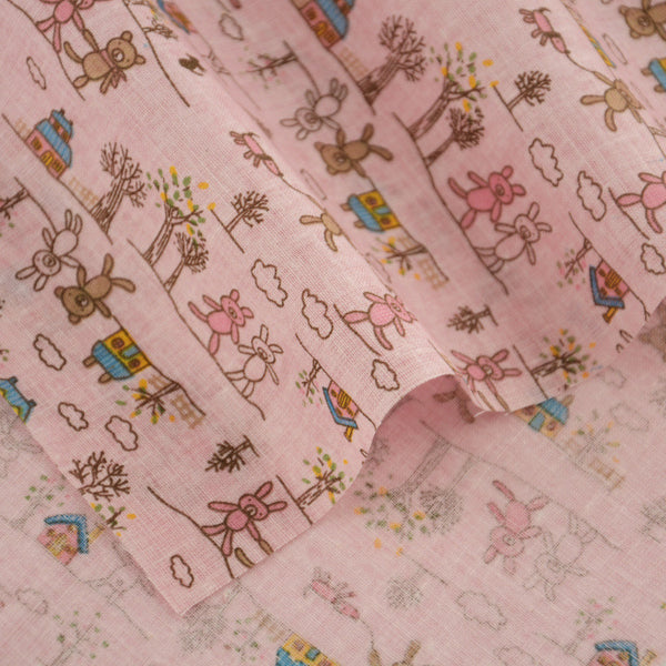 Pink Cute Cartoon Design Home Textile 100% Cotton Fabric Clothing Doll Decoration Crafts Tissue