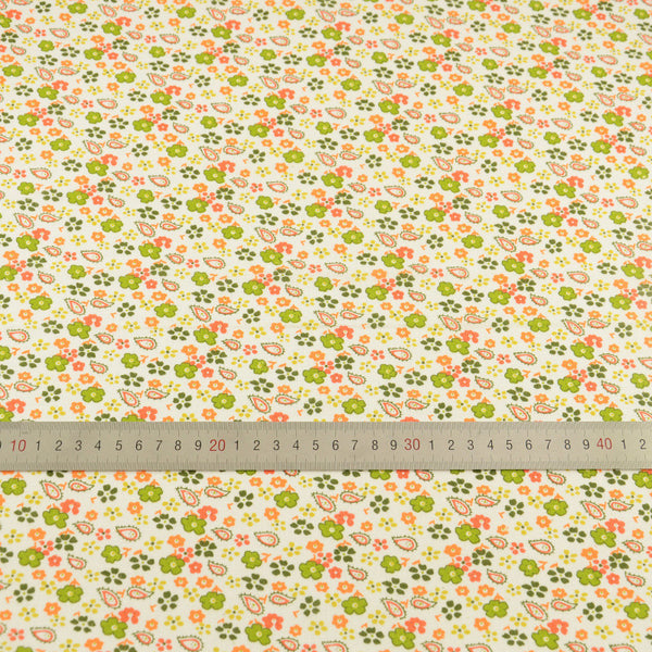 Cotton Fabric Patchwork Green and Orange Floral Designs Home Textile Clothing Doll Scrapbooking