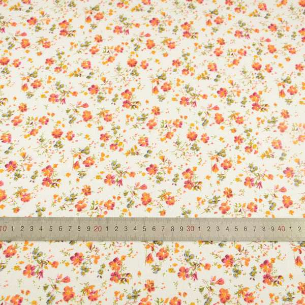 Cotton Plain Fabric Orange and Red Flower Classical Style Clothing Patchwork Crafts Tissue