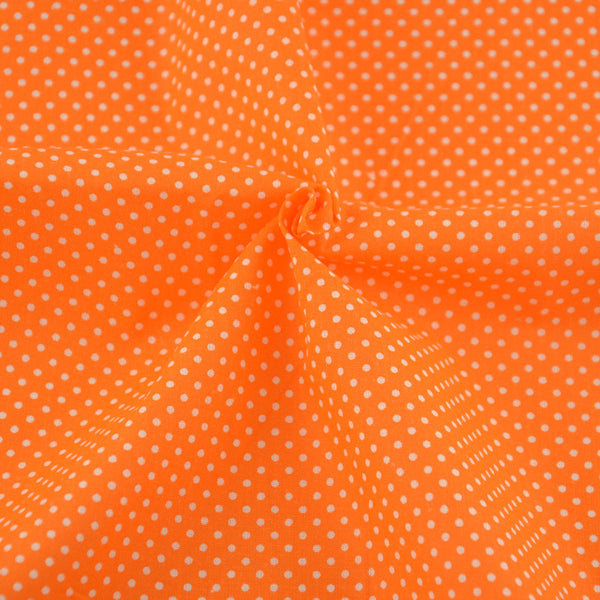 Art Work White Dot Design Orange Patchwork Cotton Fabric Printed Bed Sheet Crafts Dolls Clothes