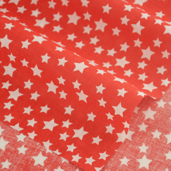 Dark Red Colour White Star Style Cotton Fabric  Tecido For Doll's Sewing Crafts Home Textile