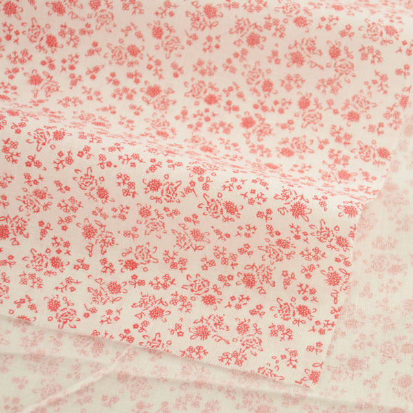 Cotton Fabric Little Red Flowers Style Textile Cloth Crafts Dolls Tissue Art Work Sewing Patchwork
