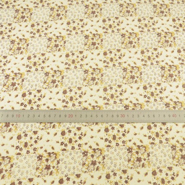 Printed Brown and Yellow Floral Design Desk Cloth Crafts Cotton Plain Fabric Home Textile