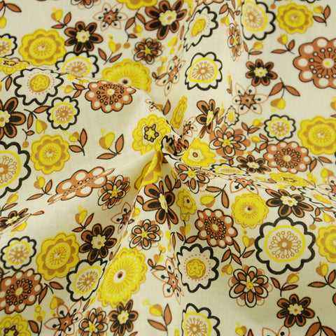 Brown And Yellow Flower Style Cotton Fabric Art Work Curtain Tida Tecido Doll Cloth Home Textile