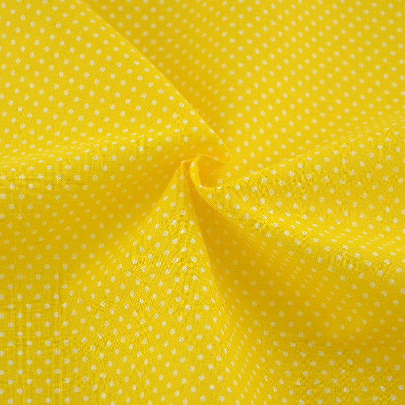 Patchwork White Dots Designs Golden Yellow Color Doll Clothes Crafts 100% Plain Cotton Fabric