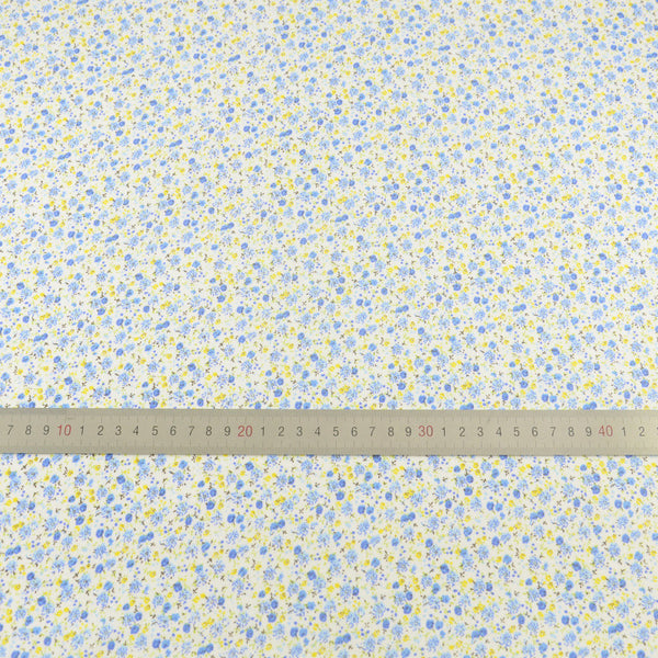 Fat Quarter Light Blue Printed 100% Cotton Fabric Blue and Yellow Floral Design Sewing Patchwork