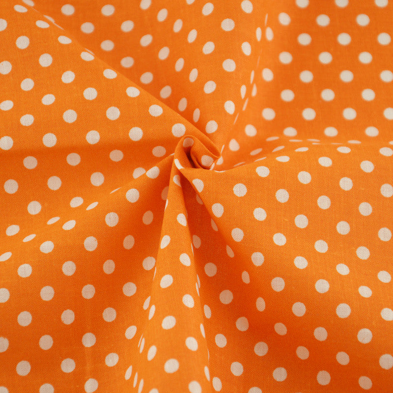 Cotton Fabric White Dots Designs Orange Printed Home Textile Patchwork Decoration Scrapbooking