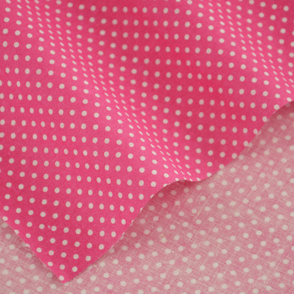Pink Cotton Fabric Patchwork Little White Dots Style Home Texitle Decoration Clothing Scrapbooking