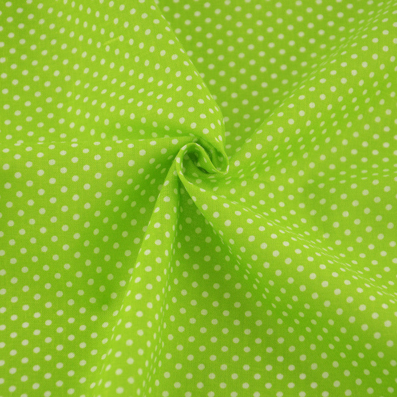 Green Cotton Fabric Little White Dots Style Patchwork Home Textile Fabrics Clothing Doll Decoration