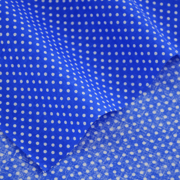 Dark Blue 100% Cotton Plain Patchwork Fabrics Textile Fat Quarter Sewing Cloth White Dots Design