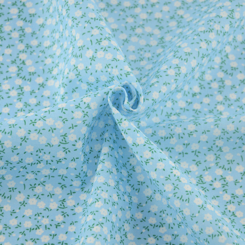 Blue Cotton Fabrics Cloth Telas Tecido Crafts Doll's DIY Home Textile Tilda White Flower Design