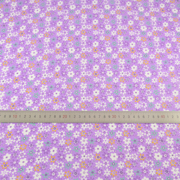 White Flower Sewing Designs Purple Color Tissue Printed for Doll's Patchwork Clothes Crafts