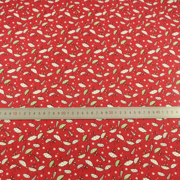 Lovely White Umbrella Designs Dark Red 100% Cotton Fabric Pre-cut Fat Quarter Tecido Home Textile