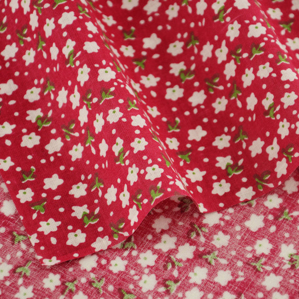 White Flowers And Green Leaves Designs Home Textile Fabric Tecido Red 100% Cotton Fabric