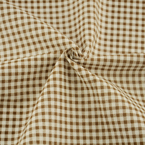 Cotton Fabrics Sewing Clothes Home Textile Printed Light Brown And White Check Designs Patchwork