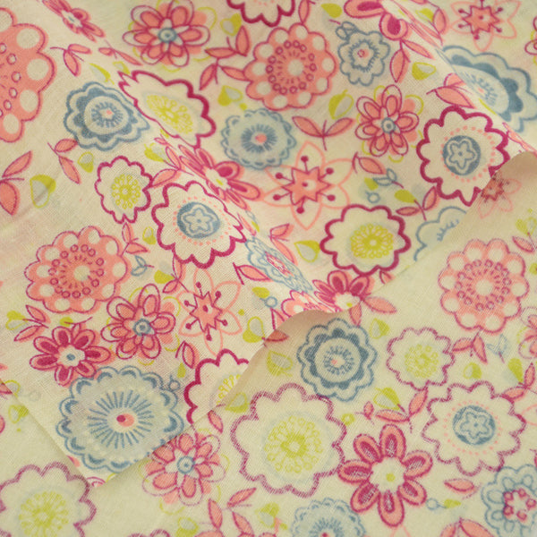 100% Cotton Fabric Printed Circle Floral Home Textile and Leaves Designs Doll Cloth Fat Quarter