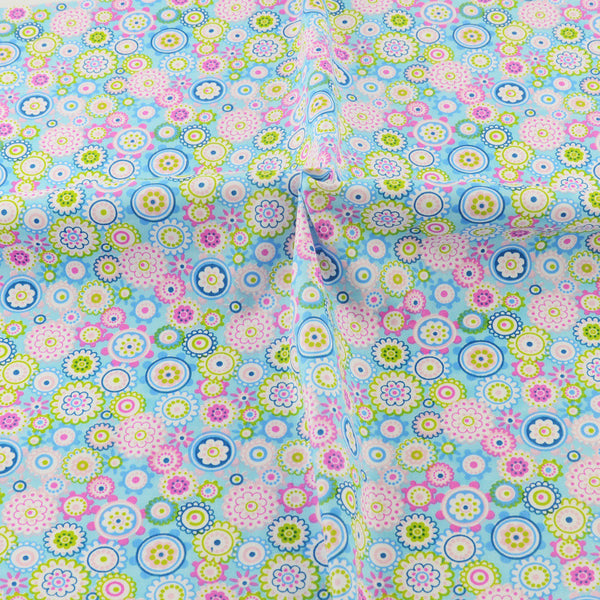 Blue Floral Cotton Twill Fabric Teramila Home Textile Sewing Bedding Quilting Cloth Craft DIY