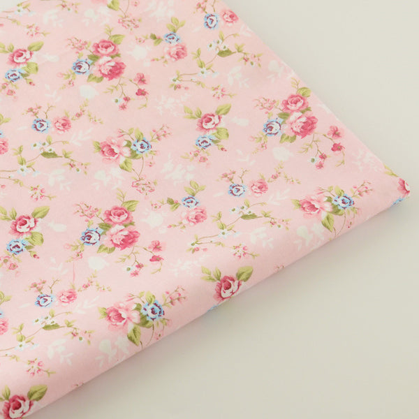 Pink Flower Cotton Twill Fabric Teramila Home Textile Sewing Bedding Quilt Cloth Craft DIY Doll