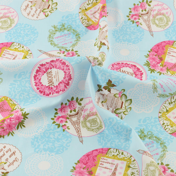 Blue Cotton Twill Fabric Teramila Home Textile Sewing Bedding Quilting Clothing Craft