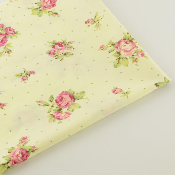 Beige Flower Cotton Twill Fabric Teramila Home Textile Sewing Bedding Quilting Clothing Craft