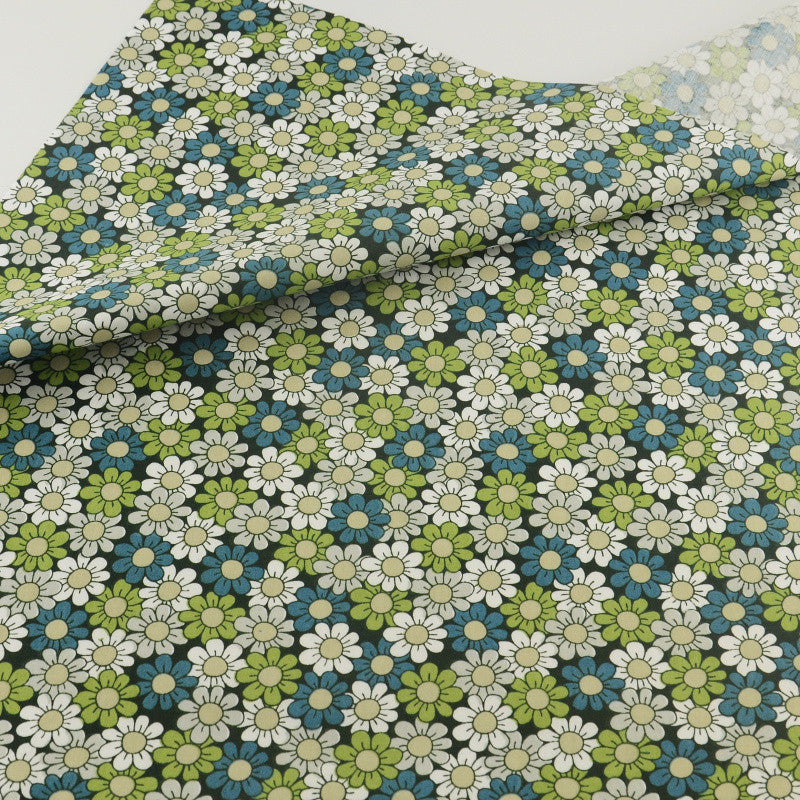Green Flower Cotton Twill Fabric Teramila Home Textile Sewing Bedding Quilting Clothing Craft