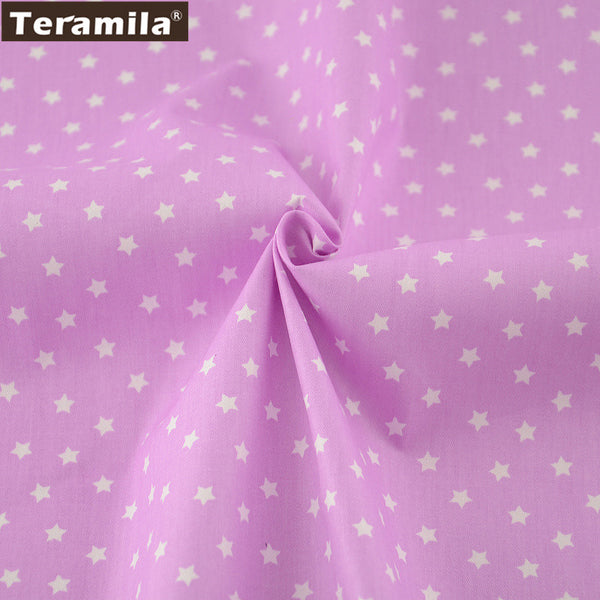 Purple Stars Cotton Twill Fabric Teramila Home Textile Sewing Bedding Quilting Clothing Craft