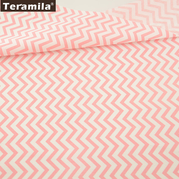 Cotton Fabric Home Textile Pink  Waves Designs Patchwork Quilting Sewing Cloth Craft