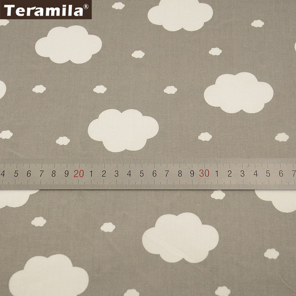 White Clouds Designs Sewing Tissue Cotton Fabric Grey Twill Material Bed Sheet  Patchwork