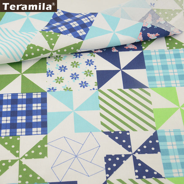 Colored Geometry PatternCotton Fabric Twill Home Textile Material Bedding Clothing
