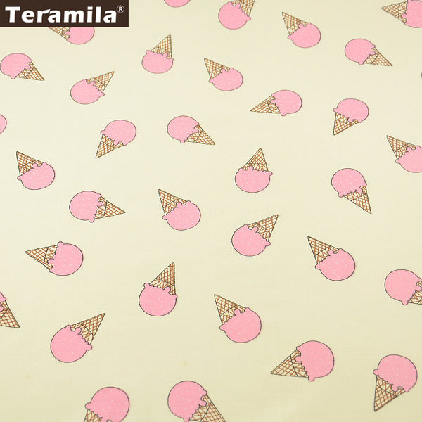Pink Ice-scream Pattern 100% Cotton Fabric Twill Fat Quarter Home Textile Quilting Tissue