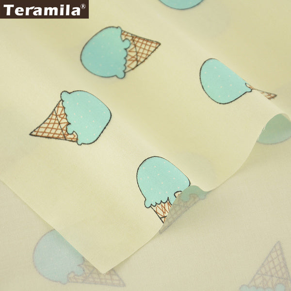 Light  Green Ice-scream Designs 100% Cotton Beige Fabric Twill Home Textile Material Bedding