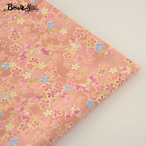 Orange 100% Cotton Fabric Gold flower Design Home Textile Material Bed Sheet Patchwork
