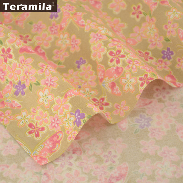 Floral and Butterflies Design Orange and Gold Cotton Fabric Material Patchwork Home Textile