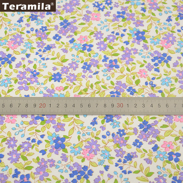 100% Cotton Fabric Twill Purple and Blue Floral Designs Home Textile Material Patchwork Sewing